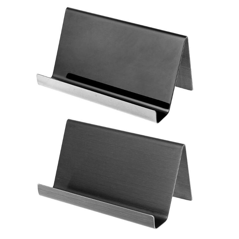 Stainless Steel Business Card Holder Desktop Card Display Rack Organizer For Office U1JA