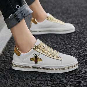 Image 2 - New Fashion Bee Embroidery Golden Mens Shoes Casual Outdoor Low Flats Men Casual Shoes Couple Glitter Sneakers zapatos de hombre