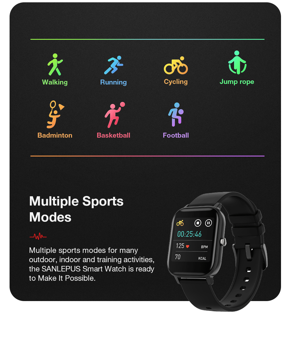 SANLEPUS Global Version Smart Watch 7 Sport Modes IP67 Waterproof Bluetooth Smartwatch Heart Rate Monitor Men Women Smart Band