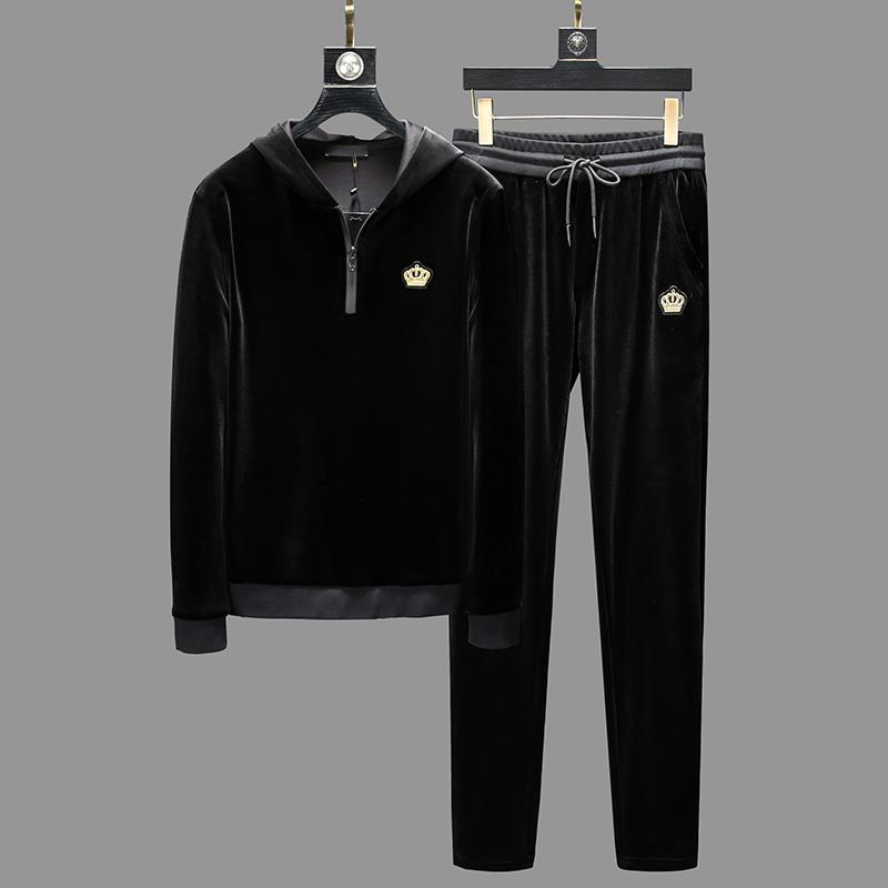 2019 Crown Embroidery Velvet Sportswear Hoody Set Clothes Tracksuits Men Sweatshirts Coats Track Suits Joggers Winter Pant Suit