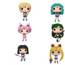 цена на POP Sailor Moon&Luna Theme Figure Statue Hare Character Action Figure Doll Sailor Chibi Moon Sailor Neptune Gift for Girls