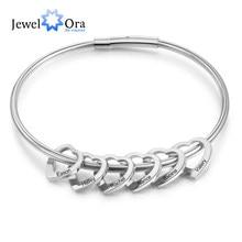 Bracelets personnalisés en acier inoxydable, 2 à 6 noms gravés en forme de cœur, cadeaux pour la famille