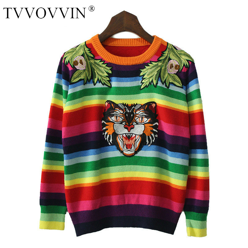 TVVOVVINFashion Woman Fleece Sweaters 2020 Winter New Casual O-neck Embroidery Striped Cotton Pullover Wild Knitted Sweater H905