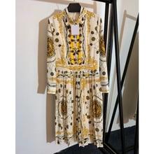 11,9 Новое высококачественное приталенное винтажное плиссированное платье с длинным рукавом и золотыми пуговицами с принтом совы