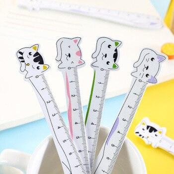 Kot linijka śliczne linijki nowość piśmienne Kawaii Student projekt władca zestaw przepisów kreślarskich szkolne materiały papiernicze artykuły szkolne