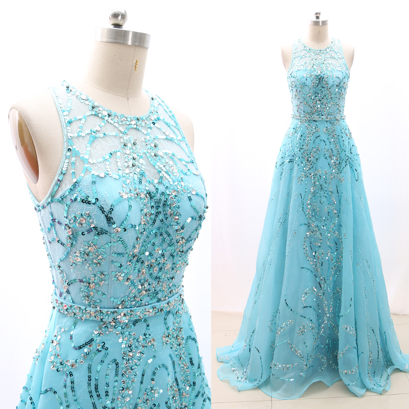 MACloth Aqua A-Line O Neck Floor-Length Long Beading Lace Prom Dresses Dress S 268479 Clearance