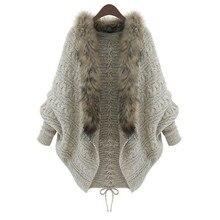 Осенний кардиган Женская зимняя одежда Плюс Размер Свободный меховой воротник свитер летучая мышь рукав вязаный кардиган меховой воротник пальто# y2