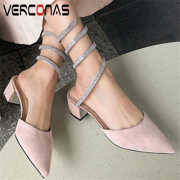VERCONAS Women Rhinestone New Arrival Sandals Pointed Toe Slippers Thick Heels Mary Jane Basic Shoes Summer Elegant Shoes Woman