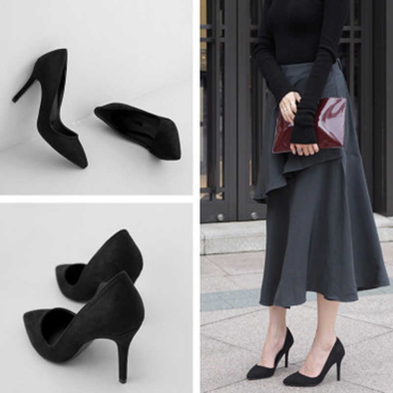 Sepatu Hak Wanita Pumps Wanita Tinggi Tumit Sepatu Warna-warni Menunjuk Toe Padat Santai Sepatu Sepatu Baru 2019 PLUS ukuran De