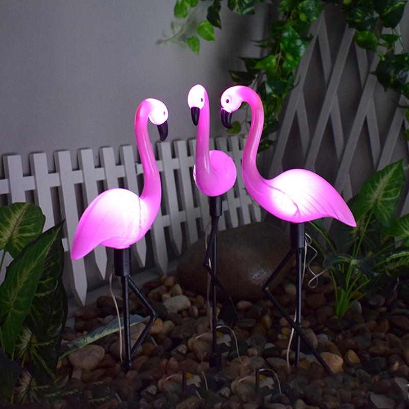 LED Bird Lamp Flamingo Solar Power Light Outdoor Fence Light Courtyard Garden Solar Led Lamp Waterproof Outside Deco Solar Light