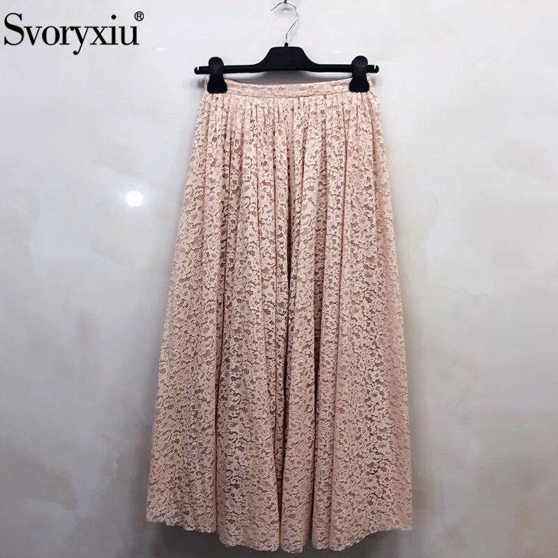 Svoryxiu Vintage Lace Long Skirt Women's High End Silk Lining Designer Brand Lace Skirt Female