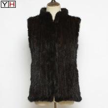 Fur-Vests Jacket Spring Mink-Fur Knitted Fashion Women Lady Real 100%Natural Autumn Soft