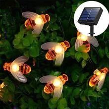 Solar Powered Cute Honey Bee Led String Fairy Light 20leds 50leds Bee Outdoor Garden Fence Patio Christmas Garland Lights 5m 50leds battery powered led rope tube string lights fairy light waterproof outdoor christmas garden path fence tree lights