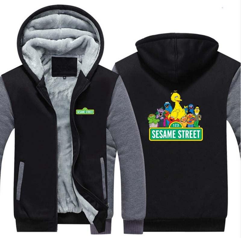 New SesameStreet Thicken Hoodie Sweatshirts Cosplay Costume Anime Winter Warm Coat Hooded Men Clothing