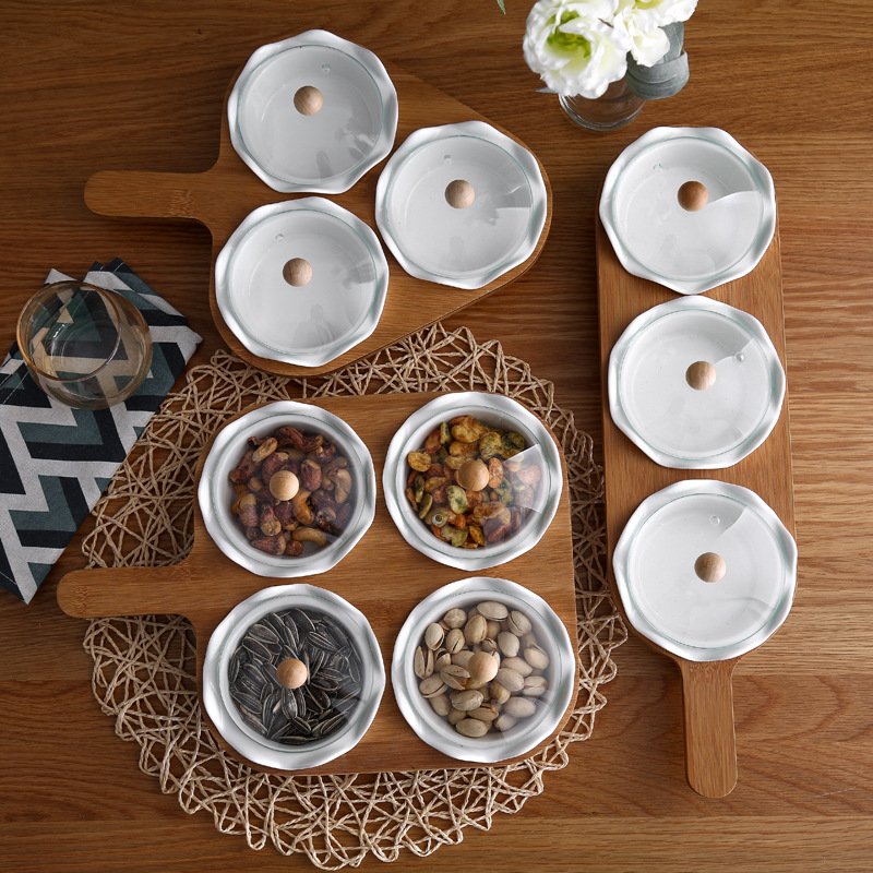 Creative Fruit jmgo pan Ceramic Dried Fruit Tray Circle Candy Dribbling Glass Cover Snacks Storage Box with Bamboo Rack