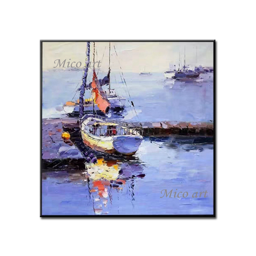100% Hand-painted <font><b>Knife</b></font> Art Textured Oil Painting Seascape <font><b>Boat</b></font> Picture Paintings Canvas Wall Art Pictures For Living Room Decor image