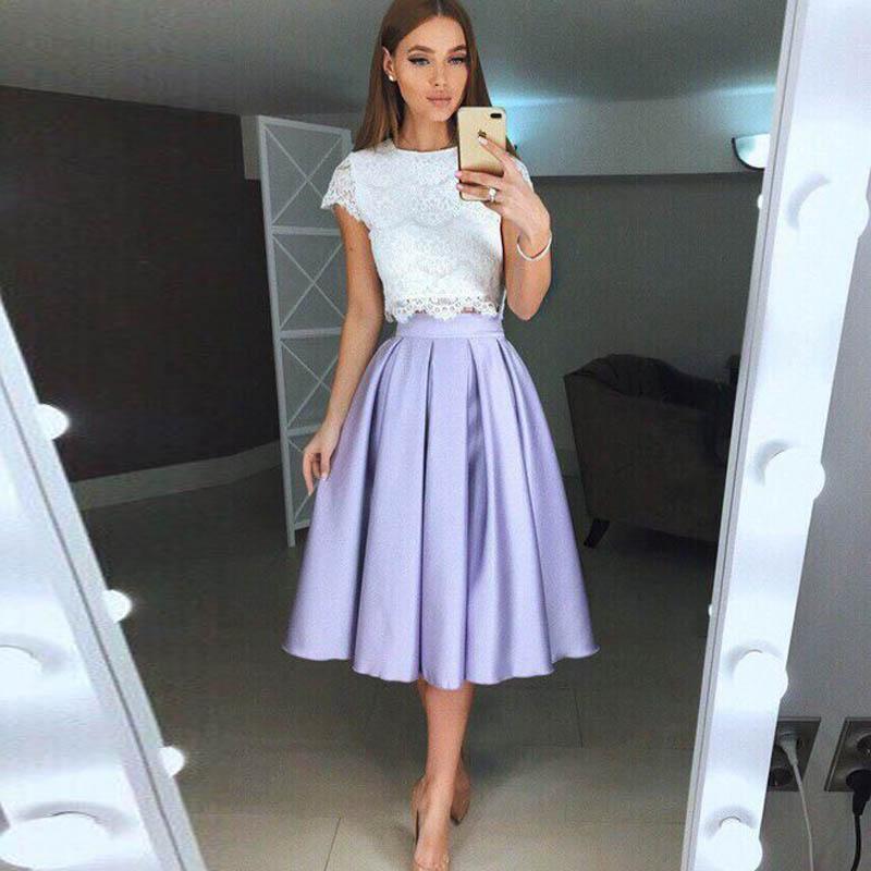 Lavender Short Satin Skirt Women Knee Length Elegant Midi Skirts Bridesmaid Prom Evening Party Skirt For Wedding Formal Gown