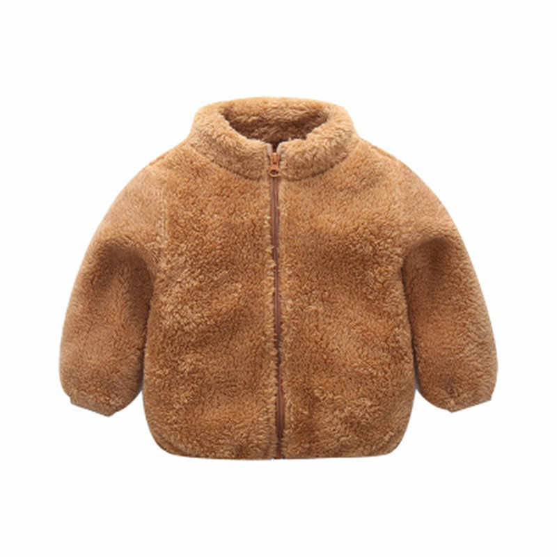 Abrigo de felpa cálido para niñas con cuello alto de lana para bebés y niños, traje de nieve para niñas, chaqueta a prueba de viento para niñas