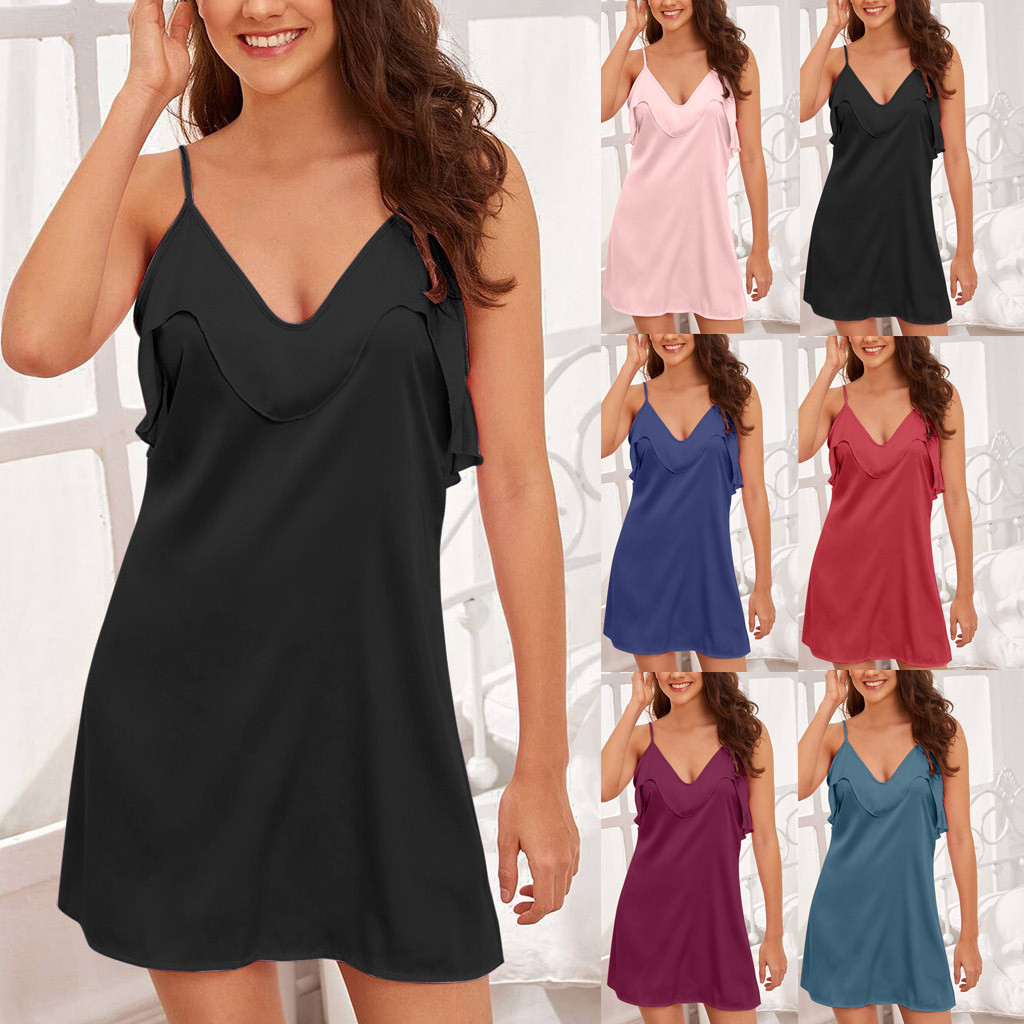 <font><b>Plus</b></font> <font><b>Size</b></font> Night Dress Nightgown <font><b>Sexy</b></font> Nightwear Lace solid <font><b>Camisola</b></font> <font><b>Lingerie</b></font> Nighty Silk Dress Sleep Wear Nightdress Clothes image