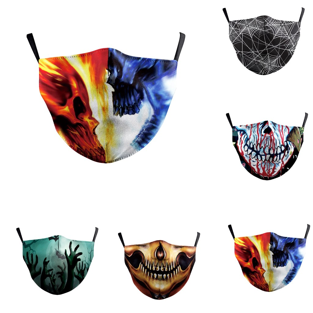 5PCS Skull Digital 3D Funny Anti Pollution PM2.5 Dust Face Maske Respirator Washable Reusable Unisex Maske Asthma/Travel/Cycling