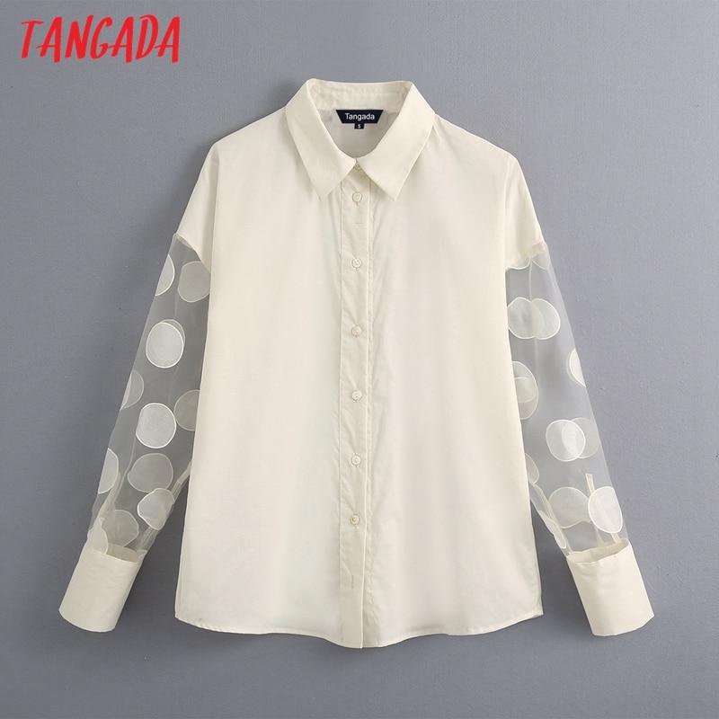 Tangada Women White Shirts Dot Mesh Long Sleeve Elegant Office Ladies Work Wear Blouses BE684