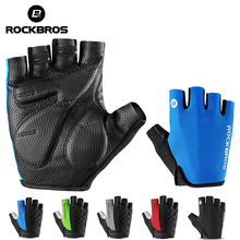 цена на ROCKBROS 5 Color Half Finger Cycling Gloves Silicone Gel Thickened Pad Anti-skidding Shockproof Breathable MTB Road Bike Gloves
