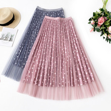 AcFirst Autumn Pink Green Women Fashion Mesh Dots Skirts Sexy High Waist Preppy Style Pleated Mid-Calf Length
