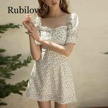 Rubilove 2019 Spring floral print vintage dress women summer beach elegant square collar white party Sexy mini