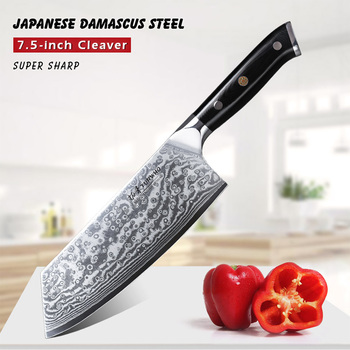 TURWHO 7.5 inch Chinese Cleaver Knife Pro Damascus Stainless Steel Kitchen Knife Super Sharp Meat Vegetables Chopping Chef Knife