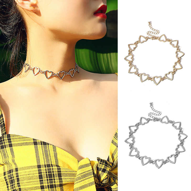 Woman's Necklace Geometric Women Accessories Heart-shaped Hollow Chain Necklace Party Jewelry Gifts