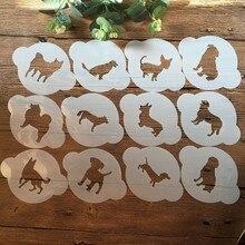 12 pces 13*10cm cão de estimação diy estênceis em camadas pintura scrapbooking estampagem em relevo álbum cartão de papel modelo