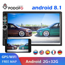 Podofo-Radio para carro, reproductor multimedia de coche, android con vídeo, gps, wifi, bluetooth, MP5 y FM, universal, 2 din