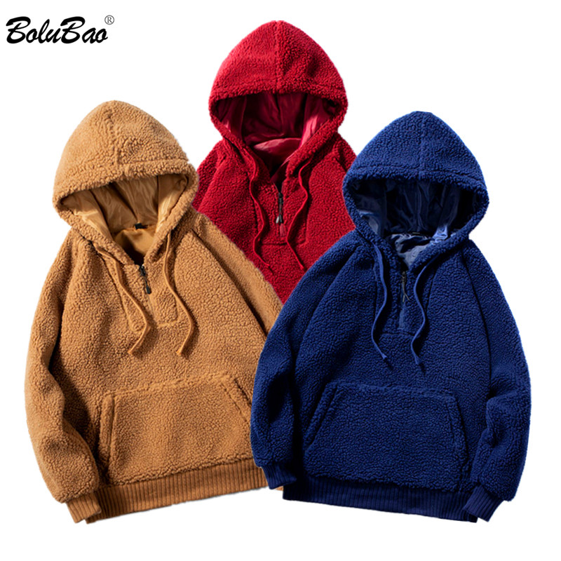 BOLUBAO Quality Brand Men Lamb Wool Hoodies Winter New Men's Fashion Solid Color Hoodies Sweatshirts Male Big Pocket Hoodie Tops