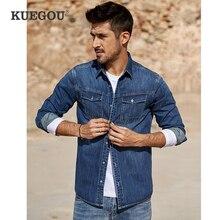 KUEGOU Camisa vaquera azul de algodón para hombre, camisa de manga larga entallada informal con botones para hombre, ropa de marca de talla grande 2020