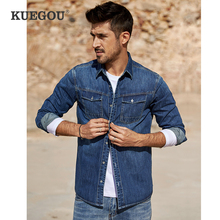 Kuegou 2020 春綿ブルーデニムシャツ男性ドレスボタンカジュアルスリムフィット長袖男性ブランドの服プラスサイズ 6212