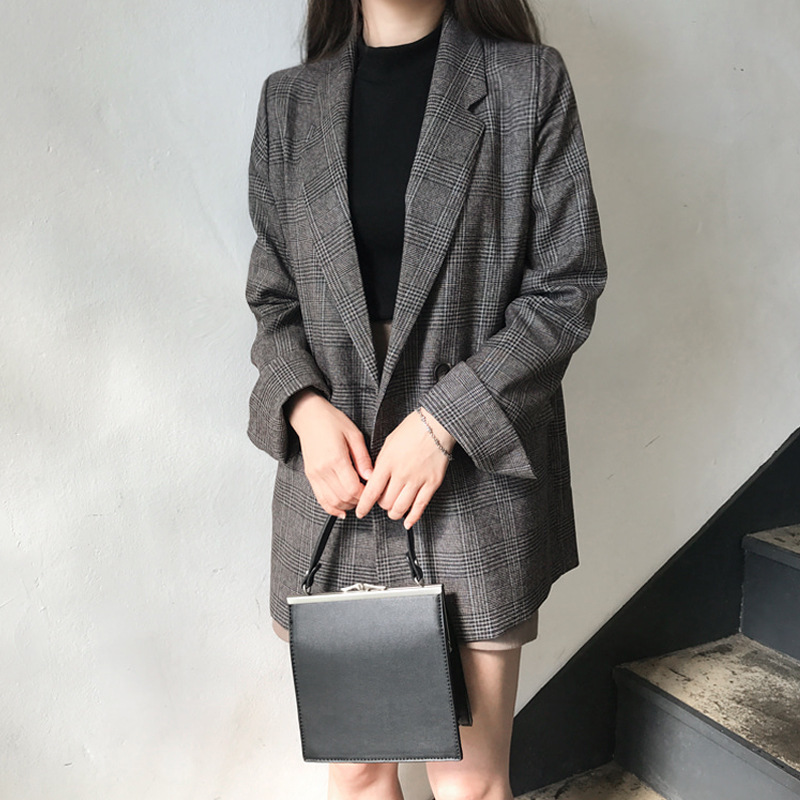 Blazer for Women Vintage Double Breasted Office Lady Plaid Blazers Long Sleeve Suit Coat Jacket 2019 Casual Autumn Outwear Coats in Blazers from Women 39 s Clothing