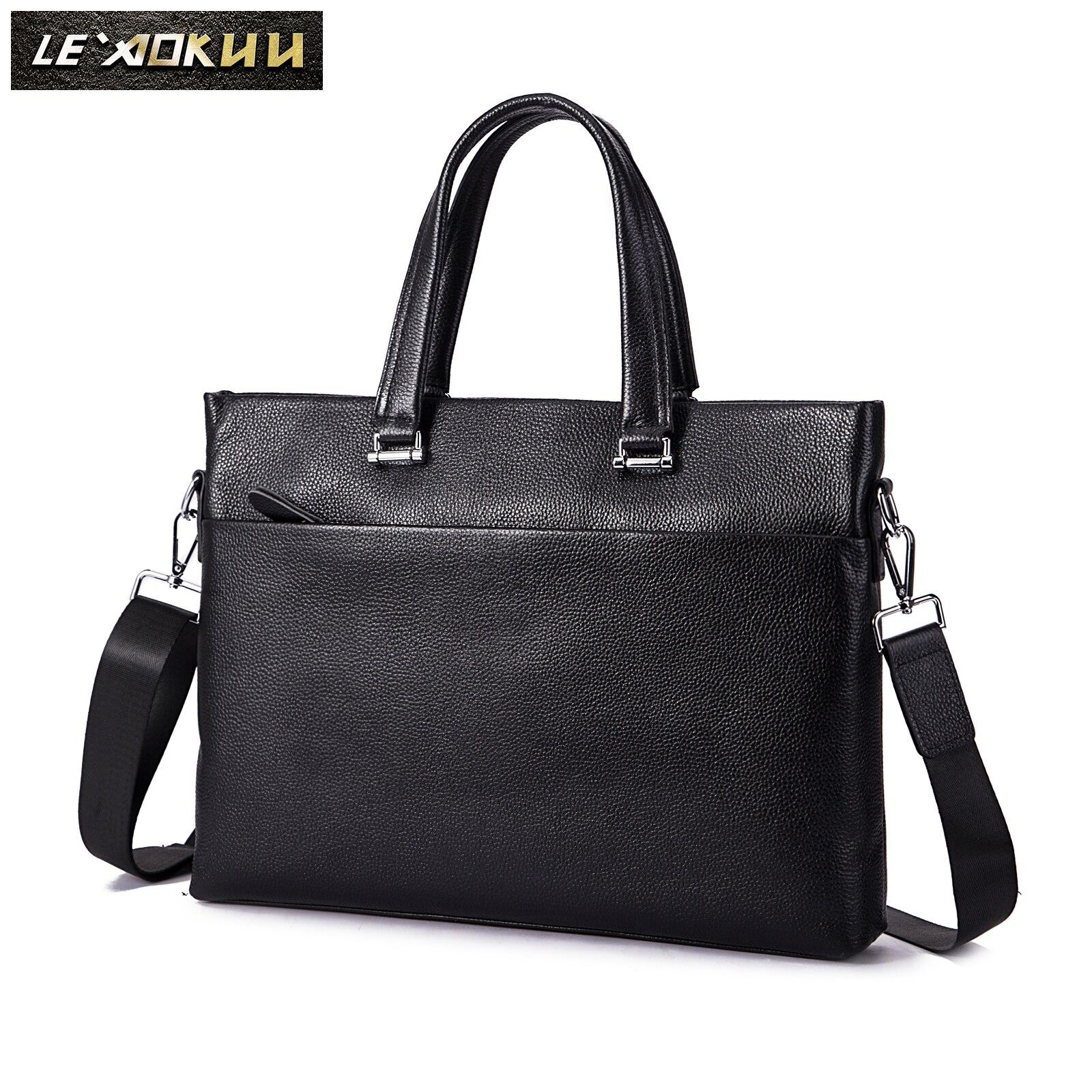 Men Genuine Leather Korea Office Maletas Business Briefcase 15