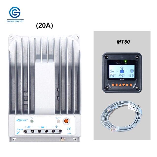 Epever 추적기 2215bn 20a 12 v 24 v mppt 태양 전지 충전 컨트롤러 mt50 wifi 블루투스 pc 포트 태양 전지 패널 시스템에 사용