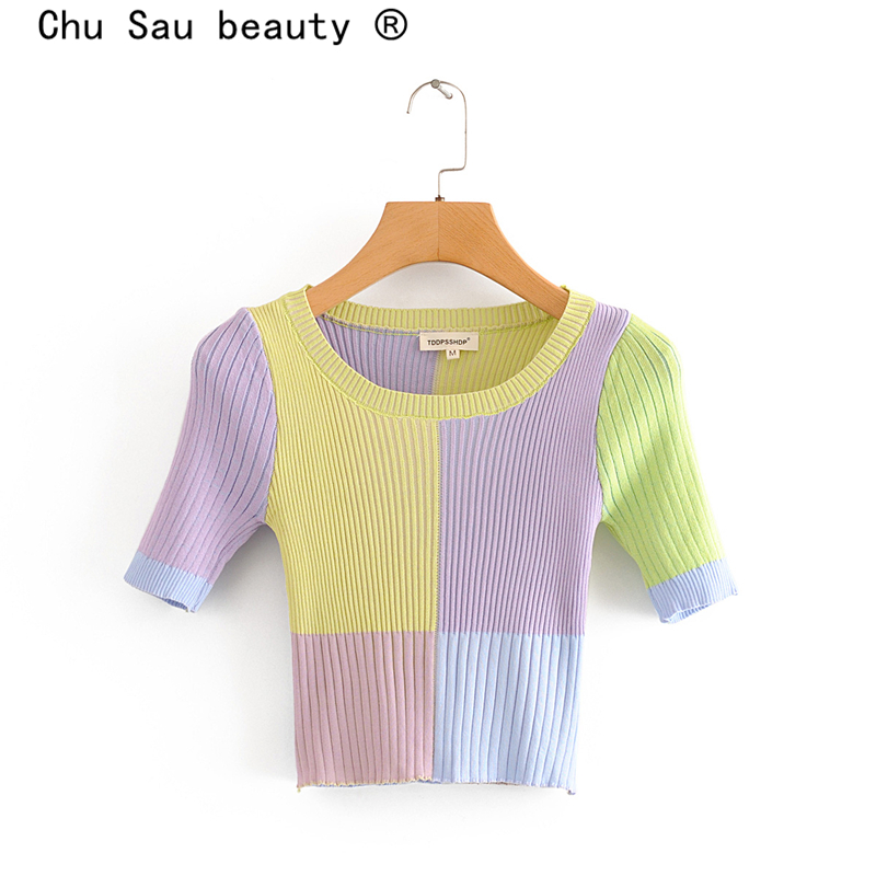 Chu Sau Beauty New Blogger Fashion Hit Color Short Cropped Knitted Tops Women Casual Chic Spring Autumn O-neck Elastic Sweaters