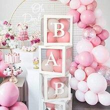 A-Z письмо имя прозрачный шар коробка для одного блоки для мальчиков и девочек вечерние подарок свадебное оформление коробки детских праздн...