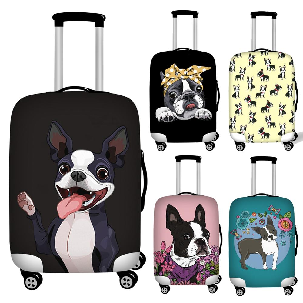 Twoheartsgirl Boston Terrier Luggage Protective Dust Covers Elastic Waterproof 18-32inch Suitcase Cover Travel Accessories
