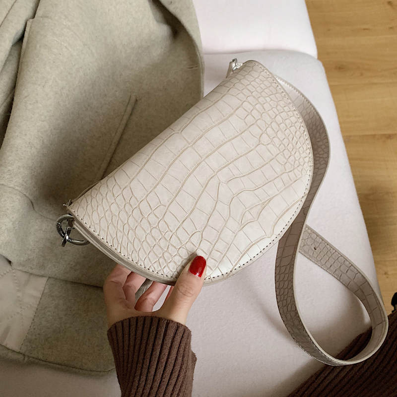 Vintage Fashion Saddle Bag 2019 New High Quality PU Leather Women's Designer Handbag Crocodile Shoulder Messenger Bag