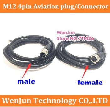 High Quality M12 4pin Female Male Aviation plug/Connector with 2meter Cable M12 4 core Straight head / Elbow head --50pcs/lot