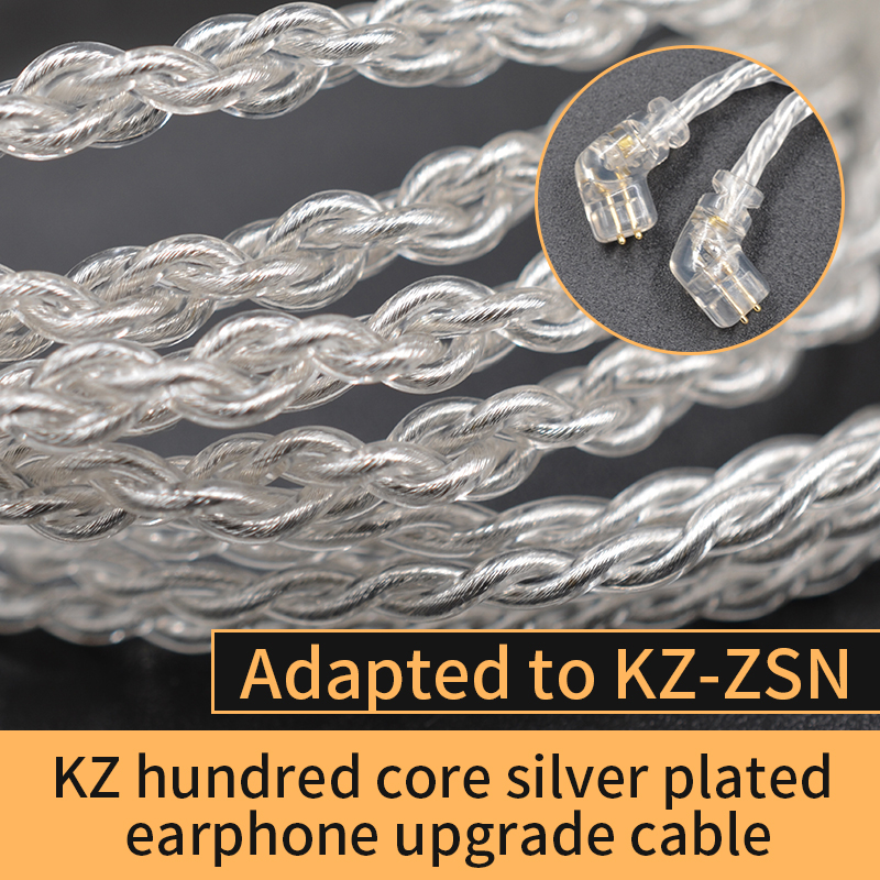 KZ ZSN Silver-plated <font><b>cable</b></font> Headset Upgrade Wire Gold Plated <font><b>2PIN</b></font> <font><b>0.75mm</b></font> High Purity Oxygen Free Copper Suitable for ZS10 PR AS16 image