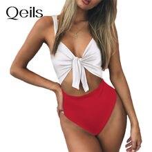 Qeils sólido maiô feminino nó biquinis banho feminino vermelho preto brasileiro brasil cintura alta biquíni fatos de banho beach wear