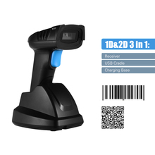 Scanner-Bar Code-Reader Barcode Aibecy Qr Wireless 1D 2D USB with Charging-Base 100m