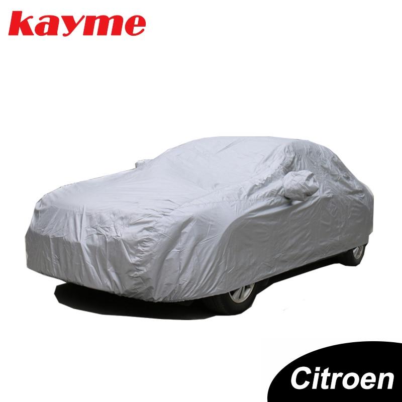 Kayme 전체 자동차 커버 방진 야외 실내 자외선 눈 내성 태양 보호 폴리 에스터 커버 범용 시트로엥-에서자동차 커버부터 자동차 및 오토바이 의