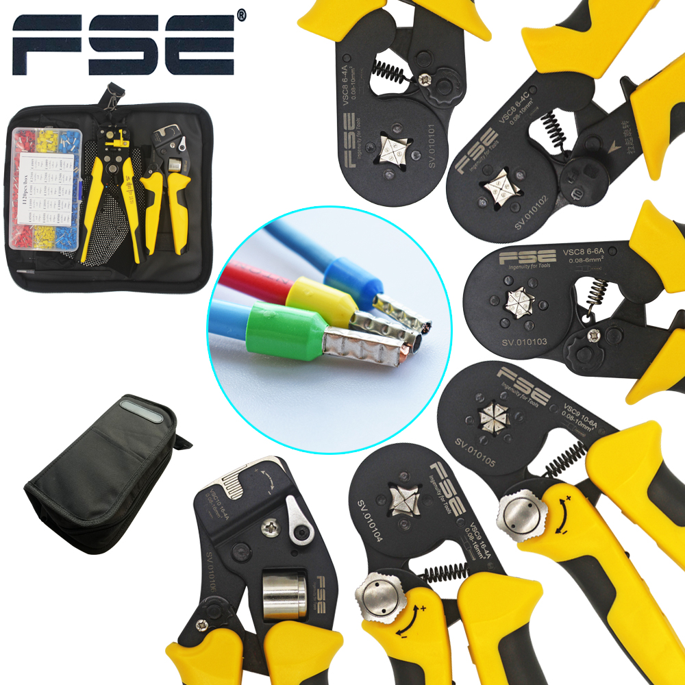 VSC9(hsc8) 10-6A 0.08-10mm2 26-7AWG 6-6 6-6A Precisa Adjustable Square Tube Lace Aluminum Alloy Crimping Herramientas De Mano