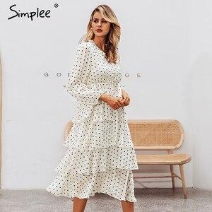 Image 3 - Simplee Elegant polka dots ชุดสตรีแขนยาวยาวเค้กหญิง Vintage สุภาพสตรีชุดราตรี vestidos