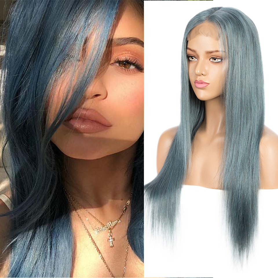 Sleek 4x4 Lace Closure Wig Baby Blue Brazilian Hair Straight Bob 10 -22 Inch Short Human Hair Wig Pre-Plucked With Baby Hair